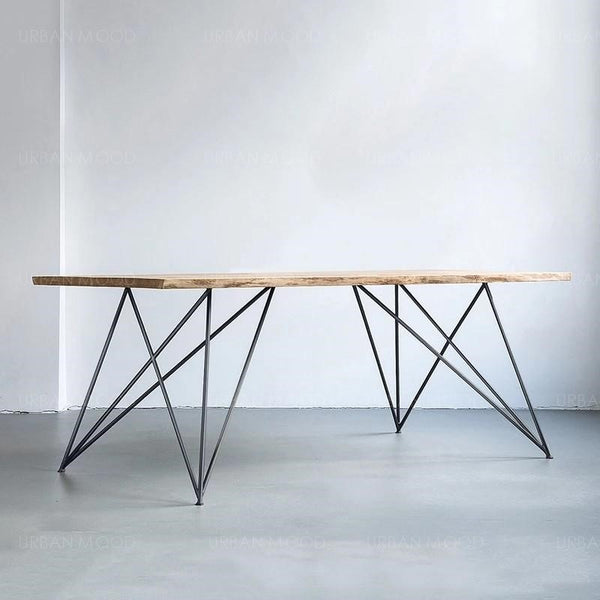 CESAR Minimalist Wooden Wire Frame Dining Office Table