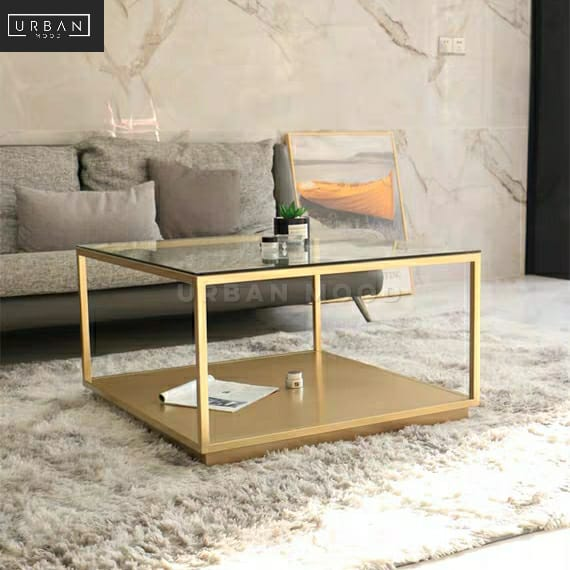 CADINE Modern Tempered Glass Coffee Table