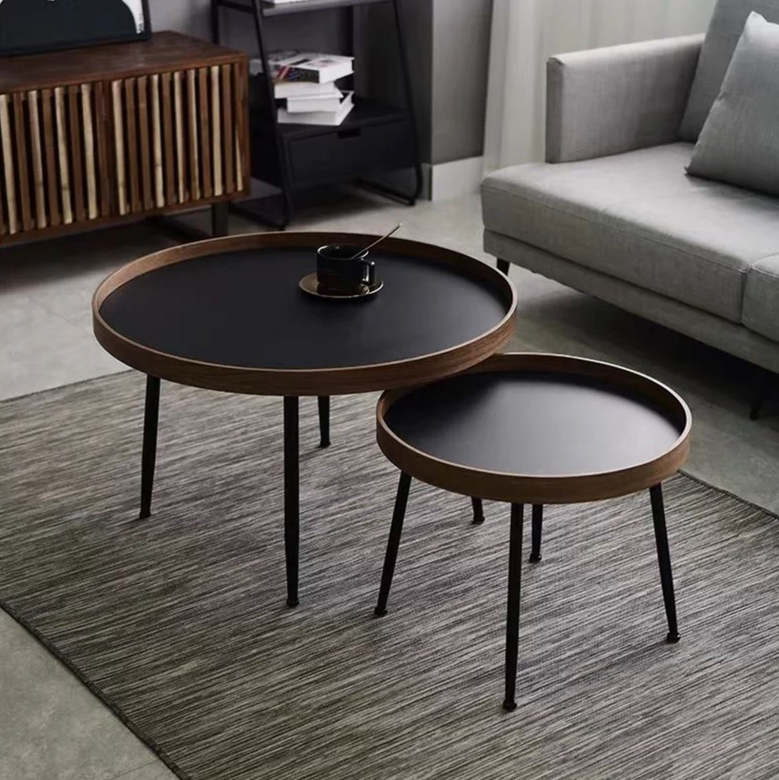 Picture of: Como Black Walnut Round Nesting Coffee Tables Urban Mood