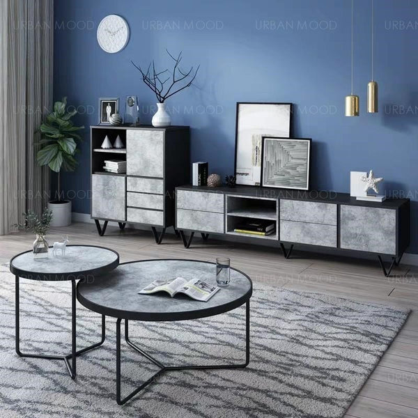 DELMAR Modern Industrial Granite Washed TV Console