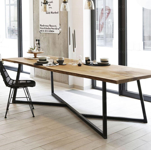 DEWOOD Contemporary Pine Wood Conference Office Dining Table