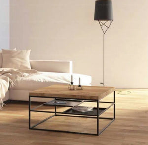 DYLAN Modern Industrial Mixed Element Coffee Table