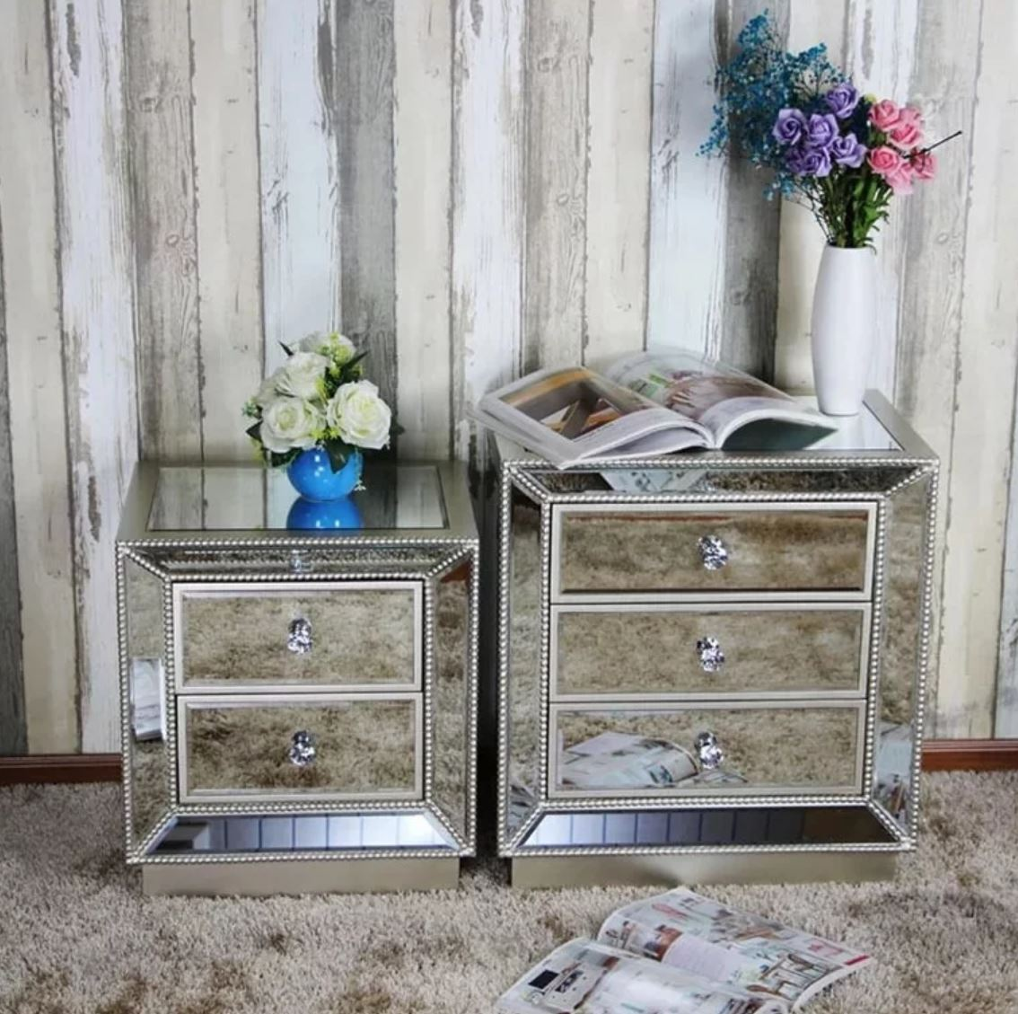 DELUCA Victorian Mirrored Bedside Table