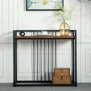 DULCAN Rustic Solid Wood Hallway Console