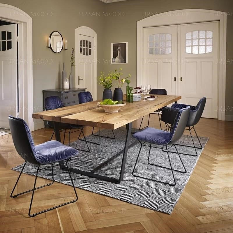 ELMWOOD Modern Industrial Wood Top Conference Dining Table