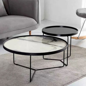 ELIJAH Round Marble Nesting Coffee Table