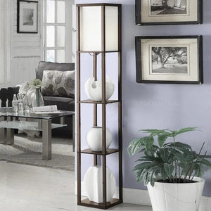 FAYE Oriental Wooden Standing Lamp with Display Shelves