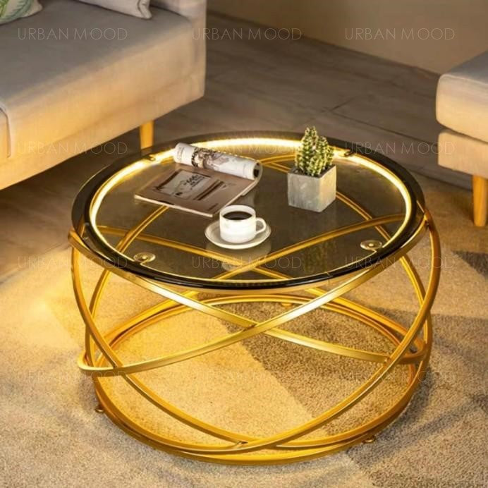 GREGORIAN LED Gold Tempered Glass Coffee Table