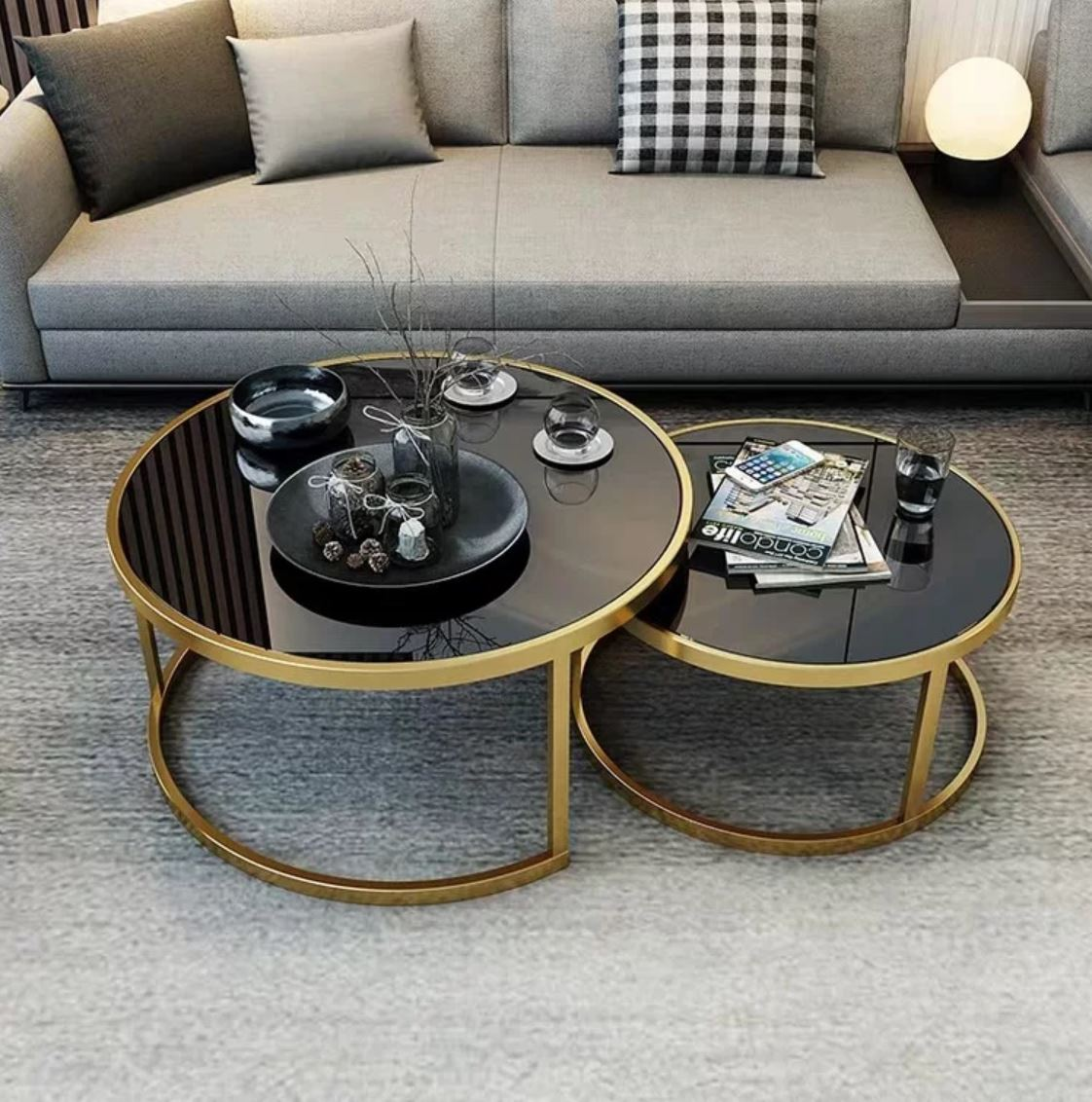 GAYLE Tempered Glass Round Nesting Coffee Table