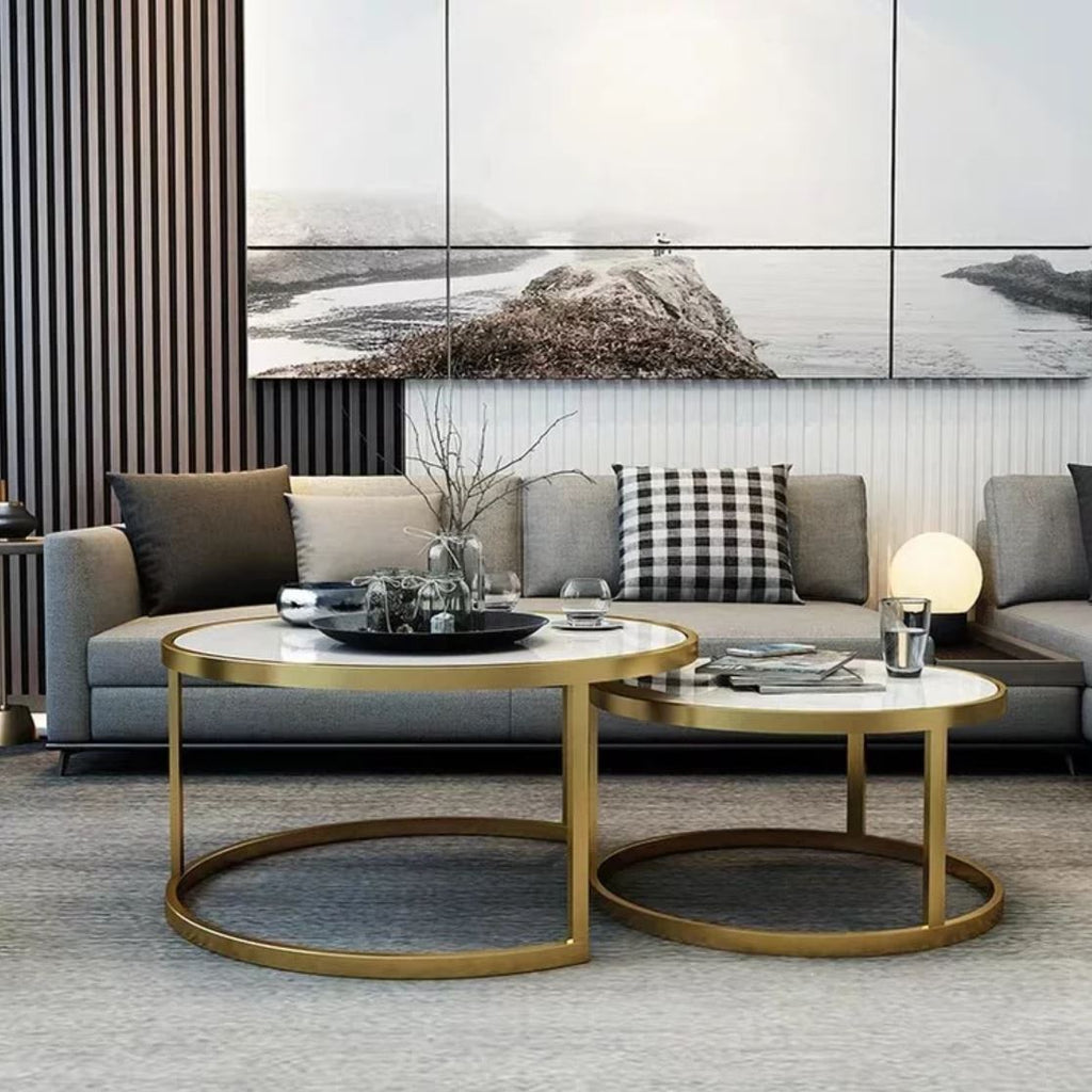 Gayle Tempered Glass Round Nesting Coffee Table Urban Mood [ 1024 x 1024 Pixel ]