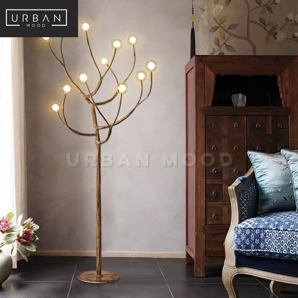 HICKORY Rustic Solid Wood Floor Lamp