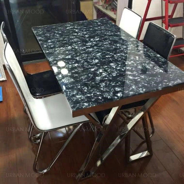 HISAKI Marble + Chrome Dining Table And Chairs