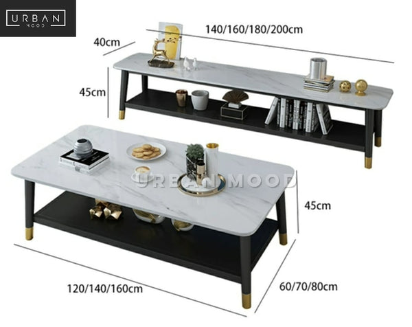DECAL Modern Marble TV Console
