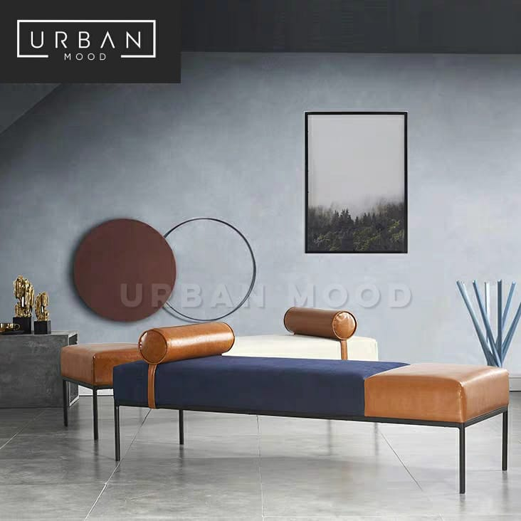 LORIC Modern Leather Ottoman / Daybed