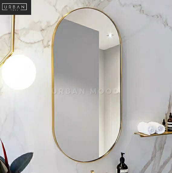 NICOLE Modern Stainless Steel Oval Mirror