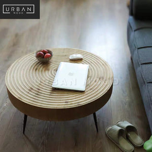 SYBIL Rustic Solid Wood Round Coffee Table