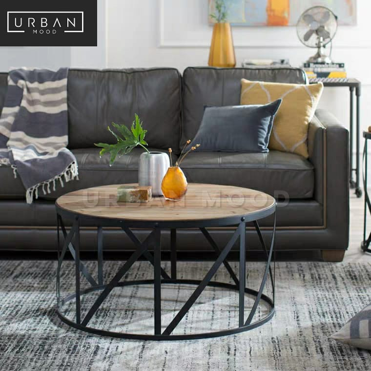 TORONTO Industrial Solid Wood Round Coffee Table