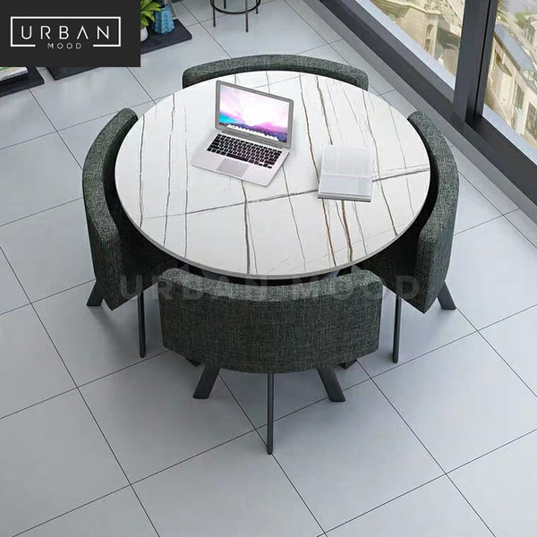 MIDLAND Modern Marble Dining Table & Chairs