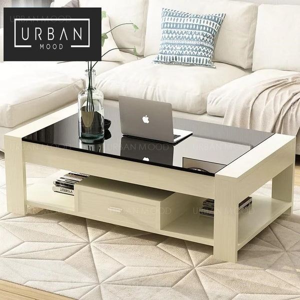 IVETTE Modern Tempered Glass Coffee Table