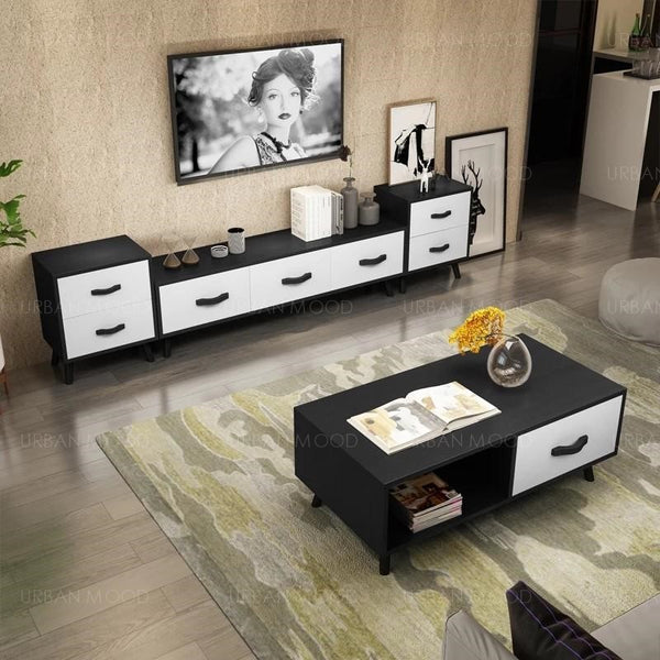 JORG Modern Vintage Wood TV Console & Coffee Table