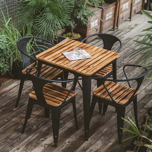 JONESS Rustic Outdoor Solid Wood Dining Table