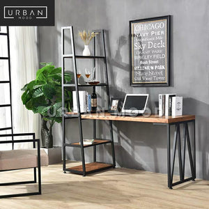 KOBANE Industrial Solid Wood Study Table with Ladder Shelf