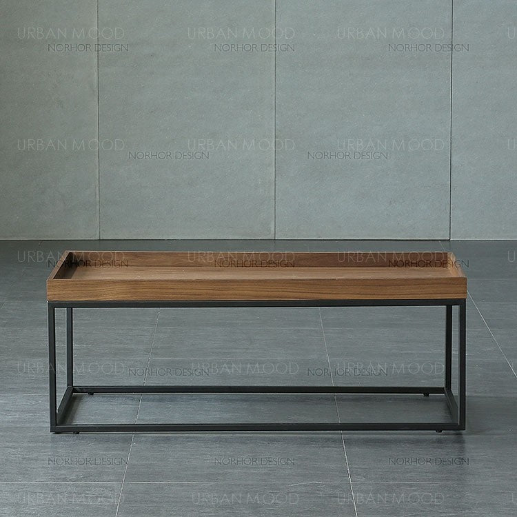 LAKEN Modern Industrial Solid Wood Coffee Table