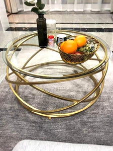 LEIA Gold Wireframe Coffee Table