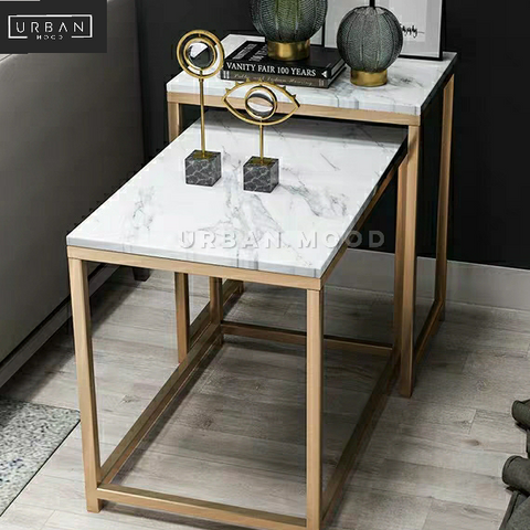 CLIFF Luxury Marble Nesting Side Tables