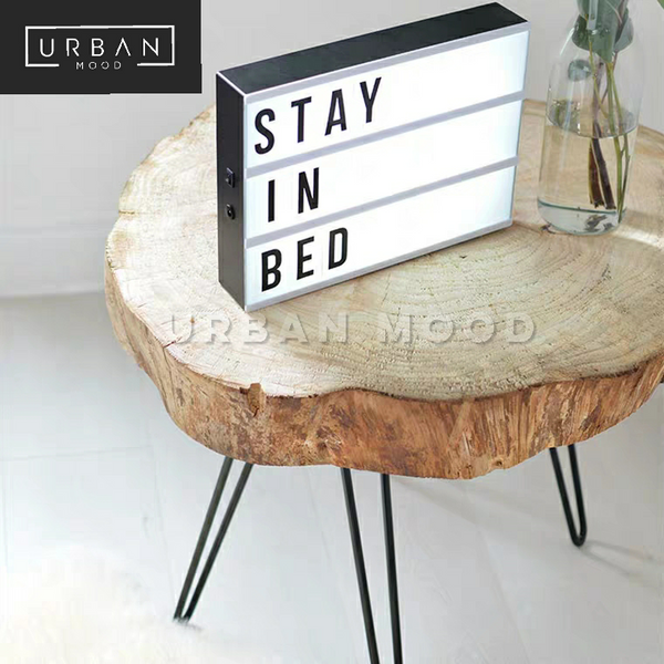 NORTON Rustic Raw Wood Side Table