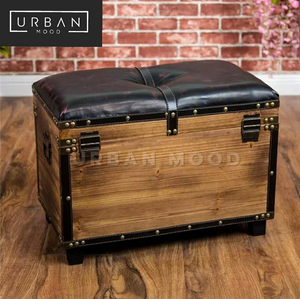 DENTON Vintage Solid Wood Storage Ottoman