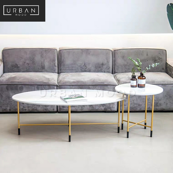 GLORY Modern Oval Marble Coffee Table