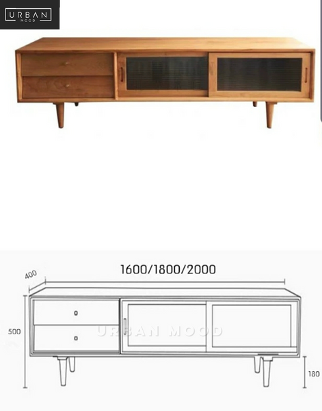 PIONEER Rustic Solid Wood TV Console