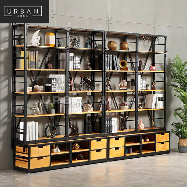 ARCHER Modern Industrial Solid Wood Library Shelf