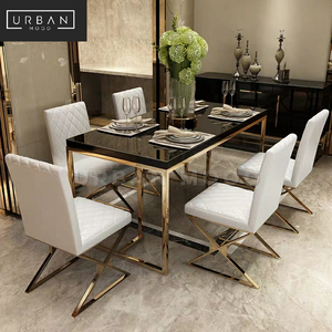 SYLPH Chrome Gold Dining Table & Chairs