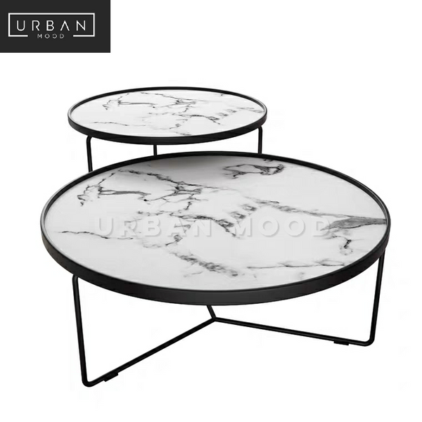 NIXIE Round Marble Nesting Coffee Table