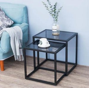 MARCIEL Modern Industrial Tempered Glass Side Table