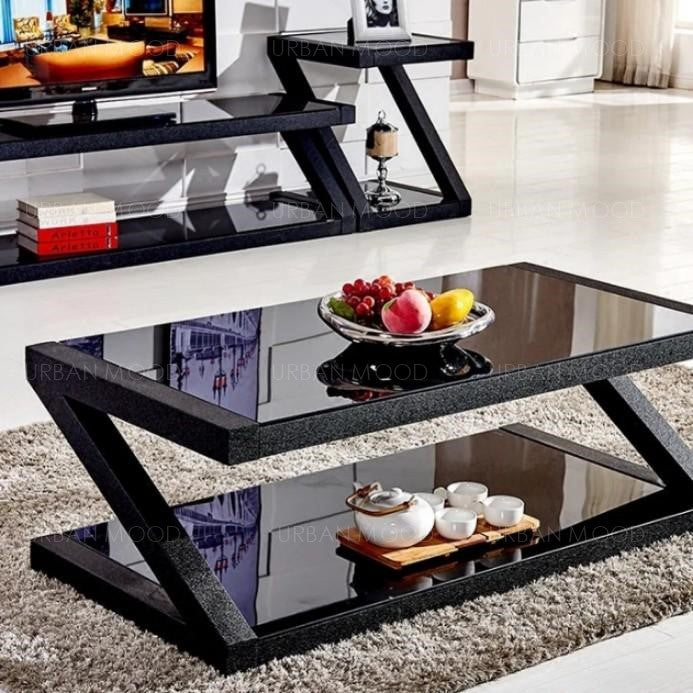 MILANA  Modern Tempered Glass Z Frame Coffee Table