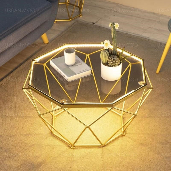 OCTAGON LED Modern Geometric Glass Gold Wire Coffee Table