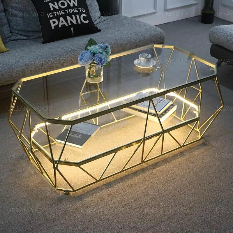 POLYGON Modern Geometric Glass Gold Coffee Table with Light