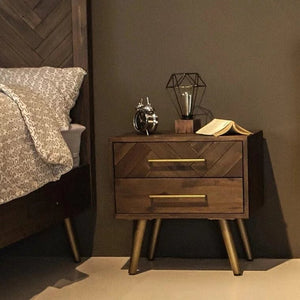 PATRON Herringbone Acacia Solid Wood Bedside Table