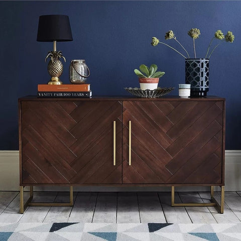PAUL Herringbone Acacia Solid Wood Sideboard Cabinet