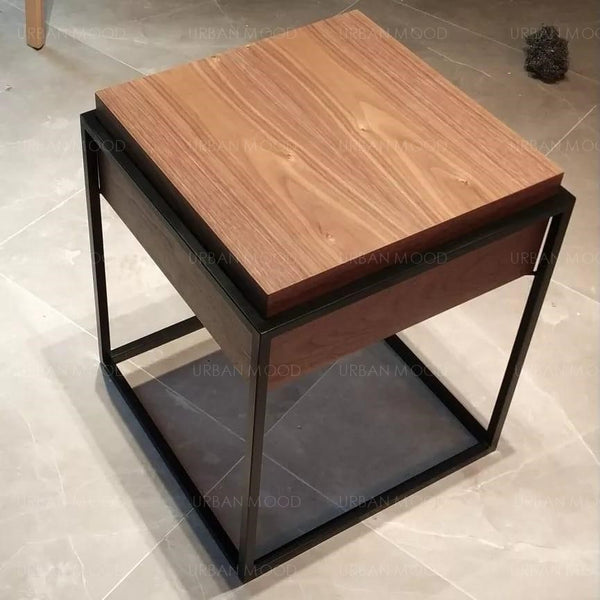 RAPHAEL Mixed Element Wood & Glass Side Table