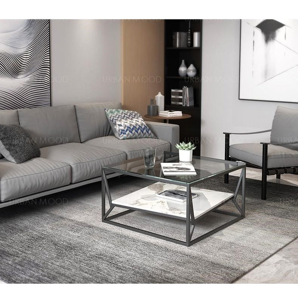 RILEY Modern Industrial Glass Top Coffee Table