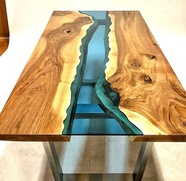 RUBEN Solid Suar Wood Epoxy River Dining Office Table