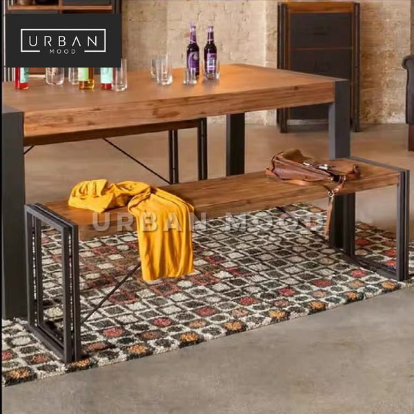 RIDGET Industrial Solid Wood Dining Bench