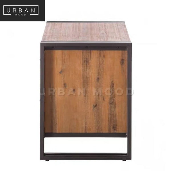 RIDGET Industrial Solid Wood Bedside Table