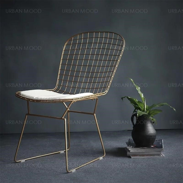 SANCTUARY Modern Wire Frame Office Dining Chair