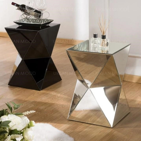 SAVVAS Mirrored Prism Side Table