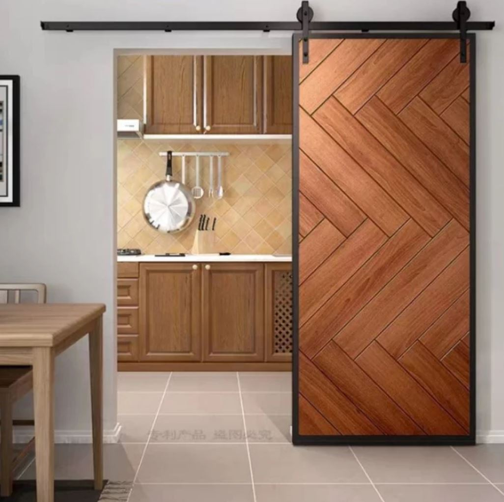 SADIE Modern Industrial Solid Wood Sliding Door